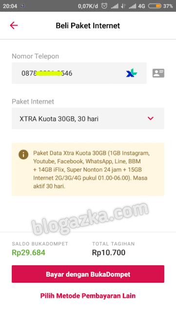 Pembelian paket internet Xtra Kuota 30gb harga 10 ribu