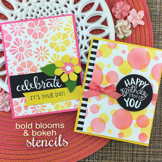 Stenciled Birthday cards by Jennifer Jackson | Flower Trio Die Set, Bold Blooms Stencil, Bokeh Stencil Set, Birthday Essentials and Uplifting Wishes Stamp Sets by Newton's Nook Designs