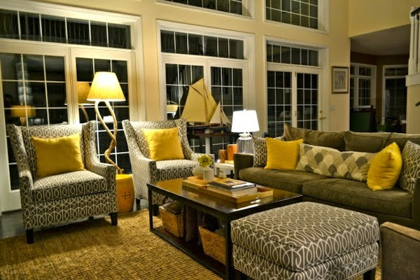 sala amarillo con gris