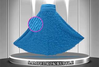 Rok panjang modern model payung bahan babat ruffle