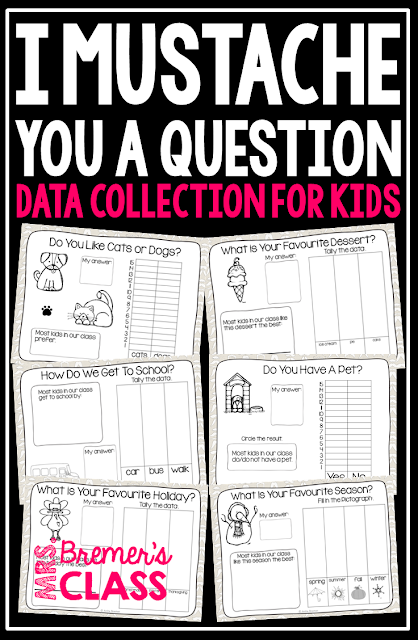 Data collection activities for kids with practice in taking surveys, graphing, and comparing numbers. #graphing #kindergartenmath #math