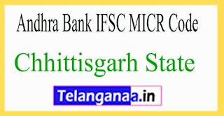 Andhra Bank IFSC MICR Code Chhittisgarh State