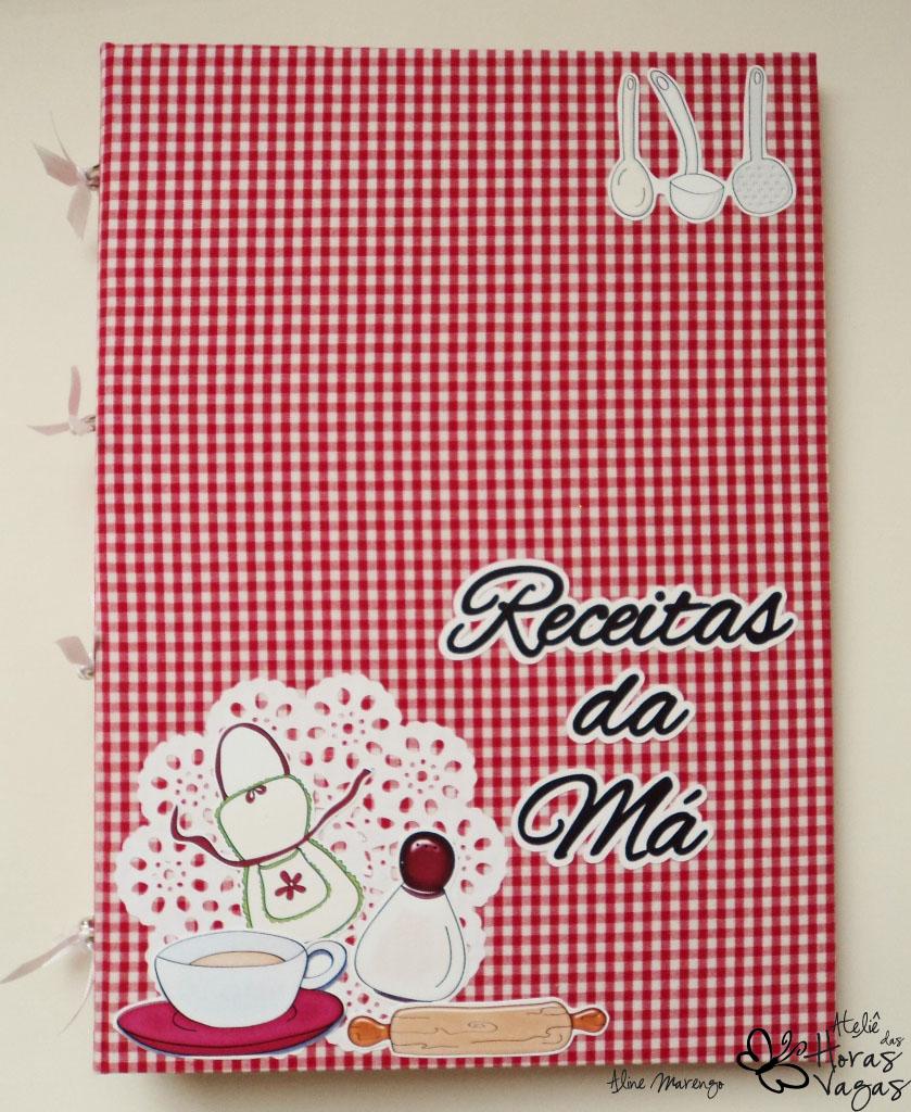 livro fichário de receitas personalizado grande A4 imprimir sulfite xadrez vermelho decorado