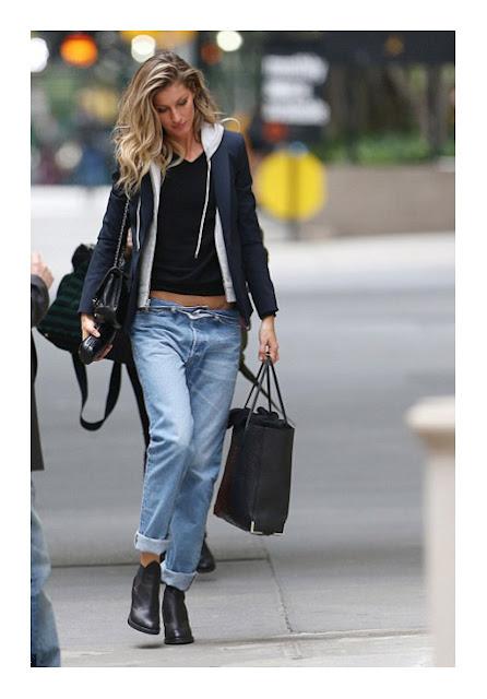 Классические широкие джинсы бойфренды на фигуре прямоугольник