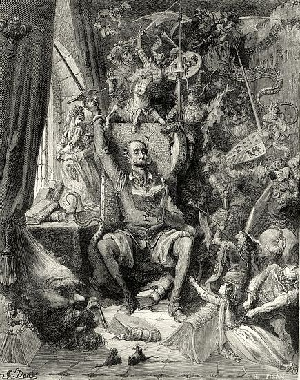 http://en.wikipedia.org/wiki/File:Gustave_Dor%C3%A9_-_Miguel_de_Cervantes_-_Don_Quixote_-_Part_1_-_Chapter_1_-_Plate_1_%22A_world_of_disorderly_notions,_picked_out_of_his_books,_crowded_into_his_imagination%22.jpg