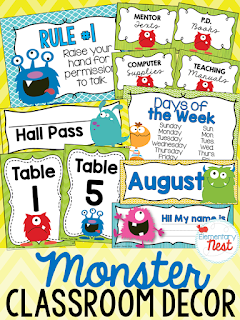 Monster Themed- Classroom Decor Collection to transform your classroom- pick a scheme or a theme to make your classroom decorated and organized