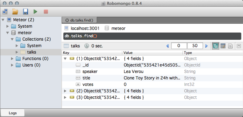 PEM: RoboMongo, the ultimate graphic admin tool for MongoDB and Meteor