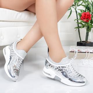 Pantofi sport Cudony argintii cu paiete