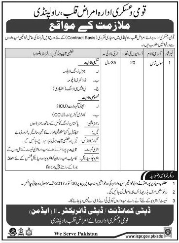 Jobs In Rawalpindi Armed Forces Institute of Cardiology  Oct 2017