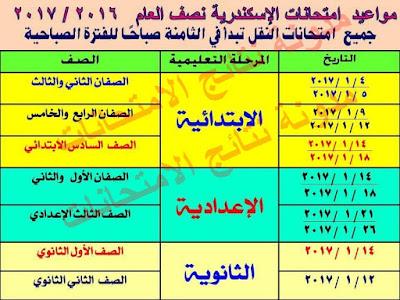 محافظة الأسكندريه : جداول امتحانات النقل والشهادات 2017 جميع المراحل (ابتدائى،اعدادى،ثانوى،فنى)