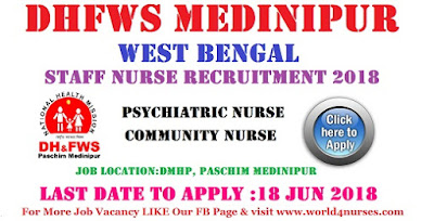 DHFWS Medinipur,West Bengal Staff Nurse Recruitment 2018- Apply Today