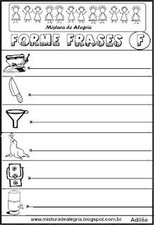 Formar frases com desenhos, letra F