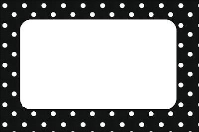 Preto e Branco com Bolinhas - Kit Completo com molduras para convites, rótulos para guloseimas ...