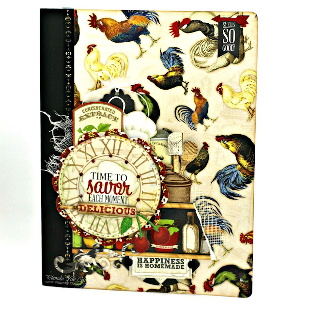 Altered Composition Notebook featuring Family Recipes Collection by BoBunny designed by Rhonda Van Ginkel