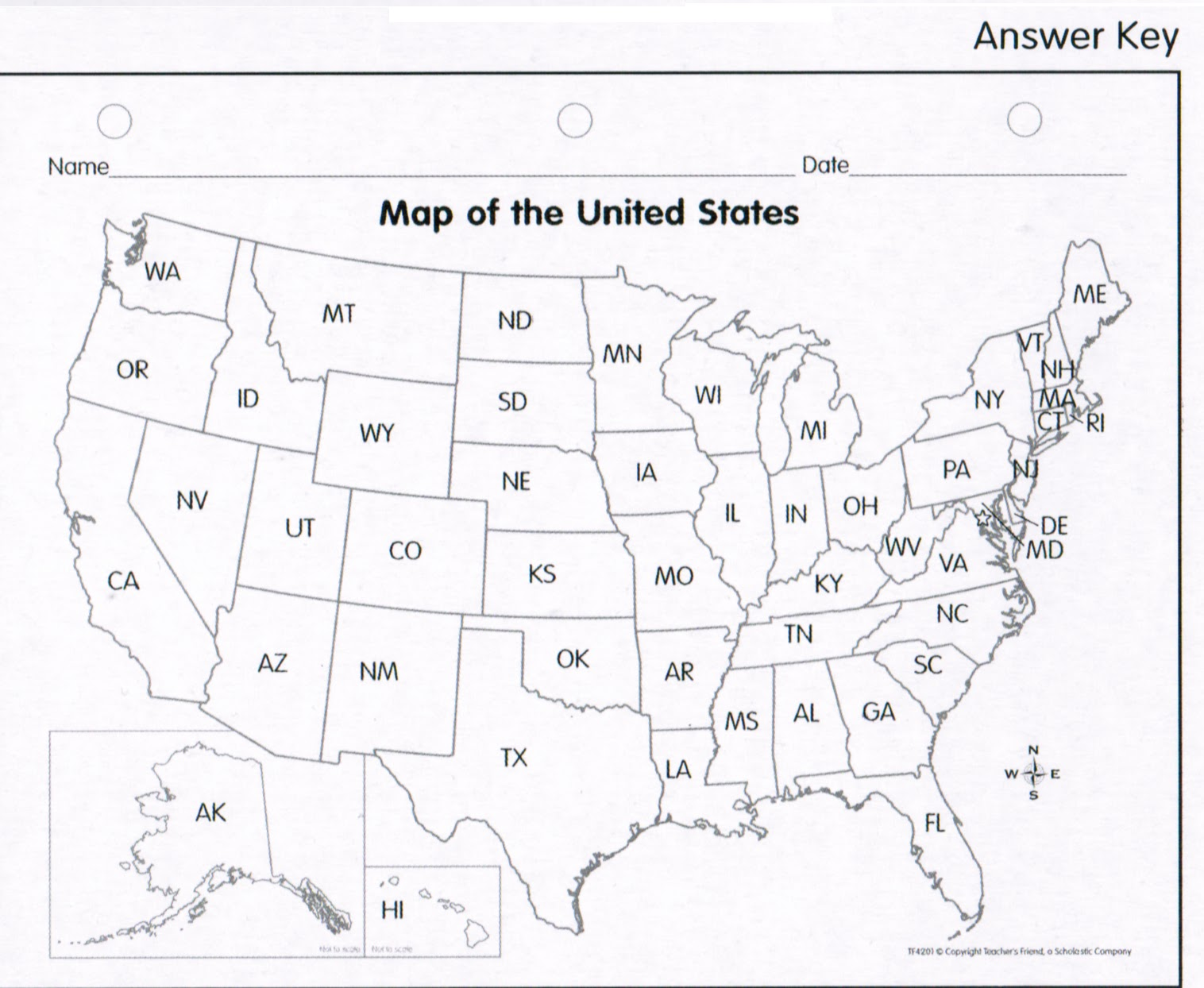 Marli & Me: US Map Answer Key-Child's Lit Project