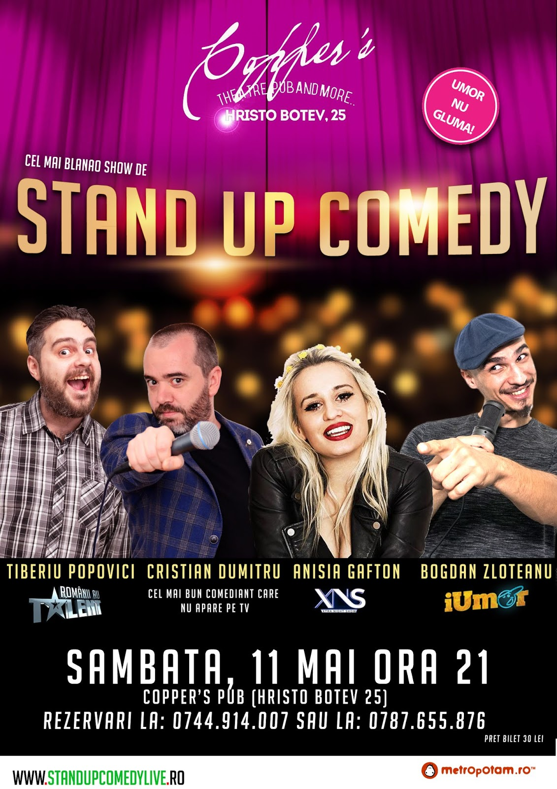 Stand-Up Comedy X4 Sambata 11 Mai 2019
