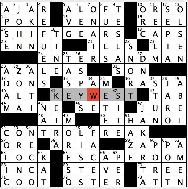 Putting yourself first crossword clue