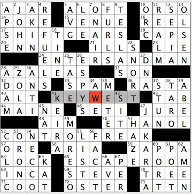 Rex Parker Does the NYT Crossword Puzzle: Metallica hit with lyric sleep with one eye open / TUE ...