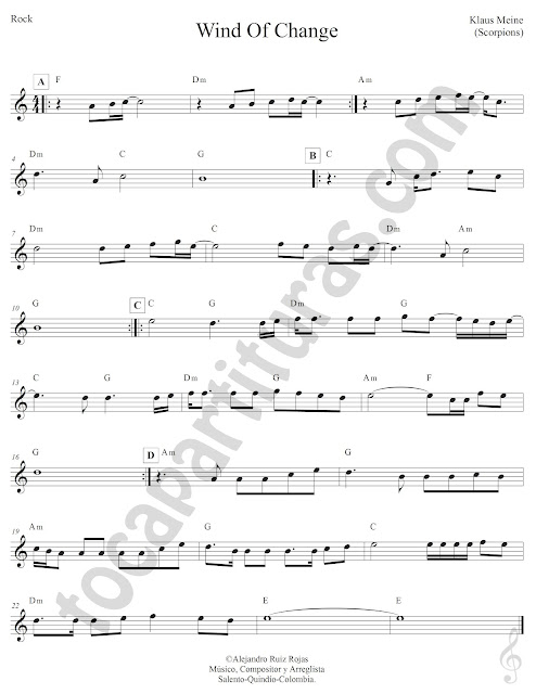 Wind of Change Pop-Rock de Klaus Meine de Scorpions Partitura Fácil con Acordes Wind of Change Sheet Music with Chords