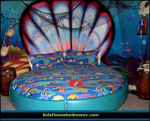 Mermaid theme bedrooms underwater bedroom ideas - under the sea theme bedrooms - mermaid theme bedrooms - sea life bedrooms - Little mermaid princess Ariel - Sponge Bob theme bedrooms - mermaid bedding - Disney's little mermaid - clamshell bed - mermaid murals - mermaid wall decal stickers -