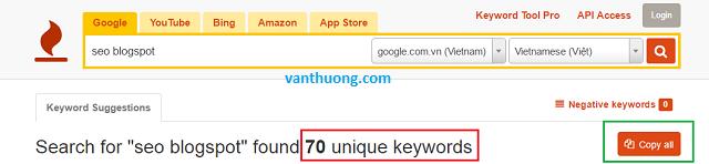 Sử dụng keyword tool để phân tích từ khóa