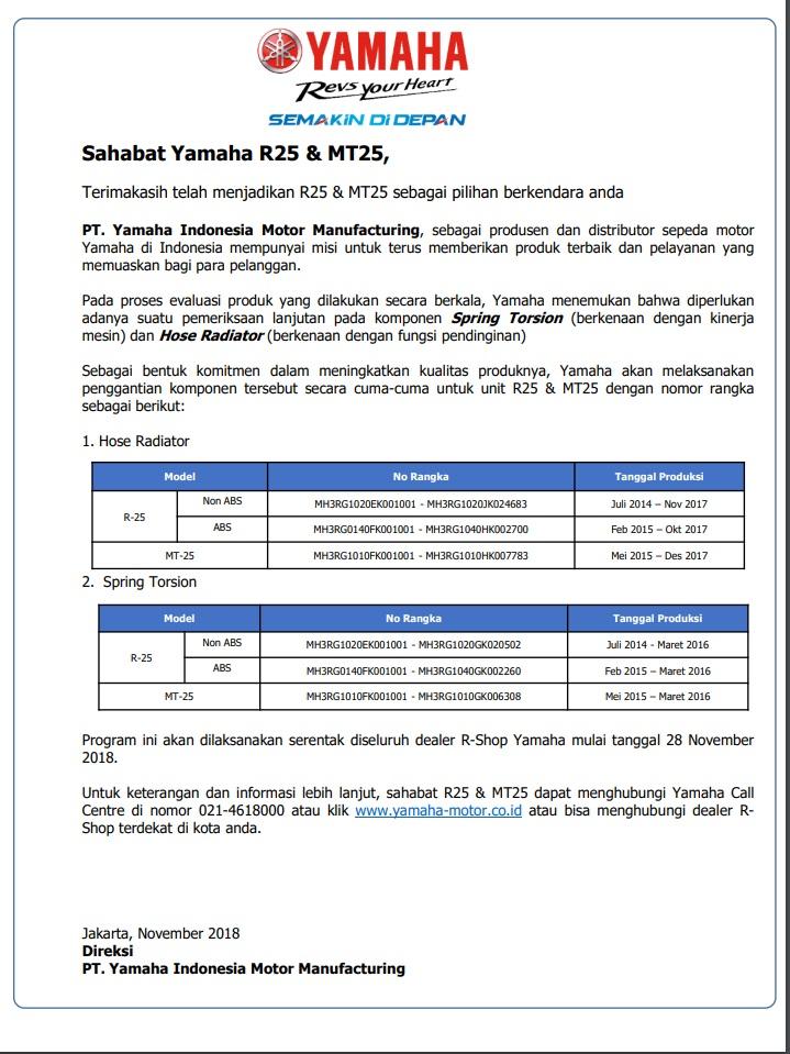 Surat Edaran PT Yamaha Motor Indonesia