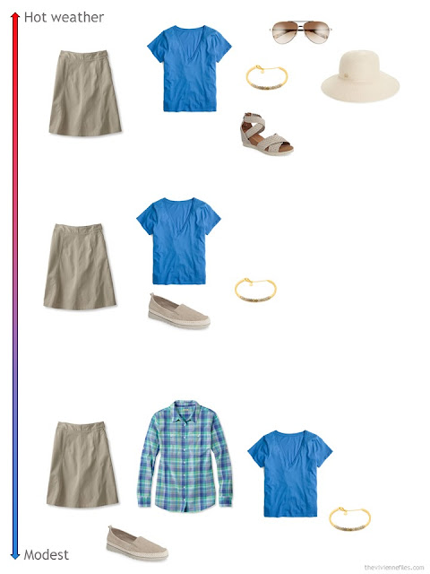 3 ways to style a khaki skirt from a travel capsule wardrobe