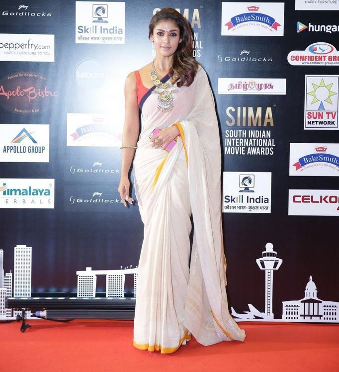 Nayanthara Photos In White Saree At SIIMA Awards