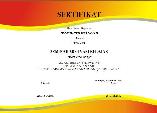 contoh sertifikat seminar format ms word