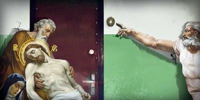 Lustiges Bild Jesus ist sturzbetrunken - Besoffen an Haustür klingeln