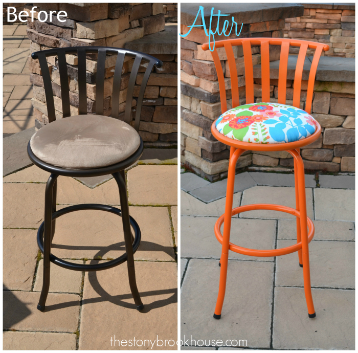Orange Barstool Before and After