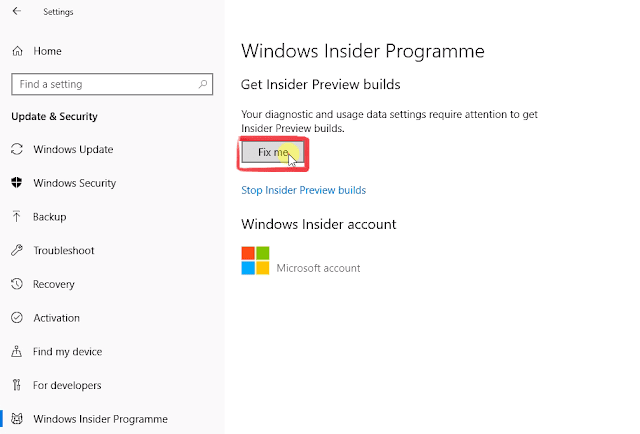 windows insider programme Fix me