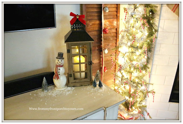 French Country Farmhouse Christmas Mantel-Vintage Style-Candle Lanterns-Snowman-From My Front Porch To Yours