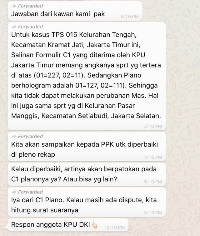 C1 Situng Di Jaktim Dan Aceh Berubah, Rugikan 02; Tanda