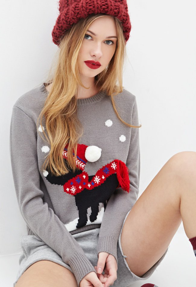 Puppy Christmas Sweater - Forever 21