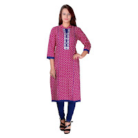 Pink Cotton Geometric Print Kurti With Resham Embroidery Neckline