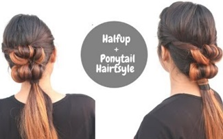 Quick And Easy Half-up & Ponytail hairstyle / Self Hairstyle / Hairstyle For Medium To Long Hair
