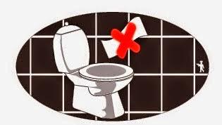 Grecka toaleta. Zakaz wrzucania papieru do muszli klozetowej.