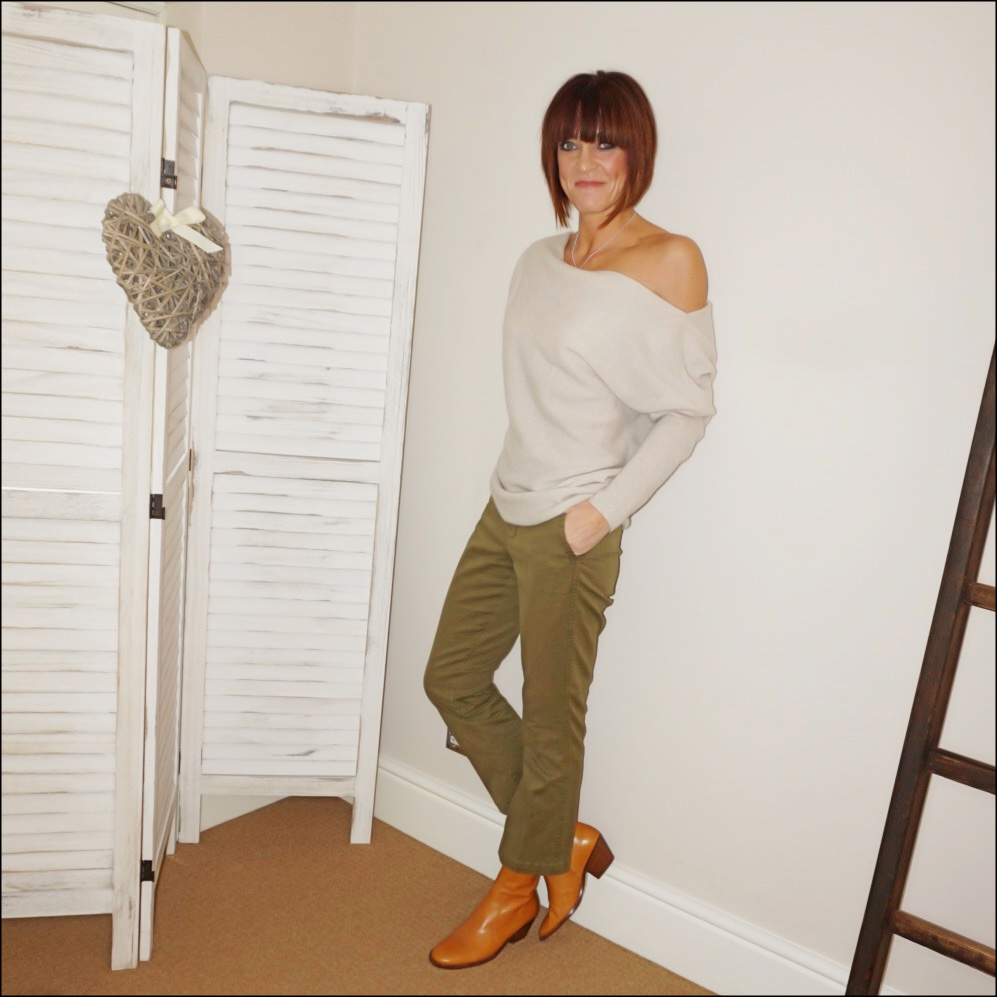 my midlife fashion, zara off the shoulder cashmere jumper, j crew sammie cropped kick flare chinos, isabel marant etoile tan round toe block heel ankle boots