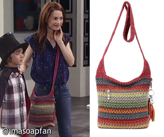 Elizabeth Webber, Rebecca Herbst, Multicolored Striped Crochet Crossbody Bag, The Sak, GH, General Hospital, Season 55, Episode 05/19/17