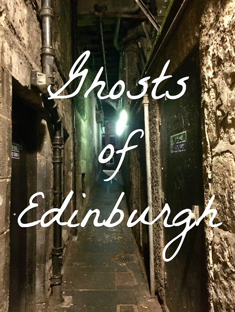 'Ghosts of Edinburgh' text on background of Edinburgh close at night