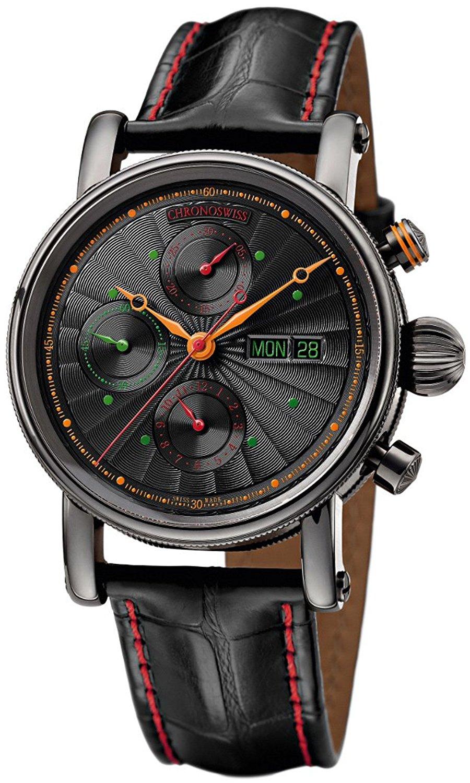 Chronoswiss Sirius Automatic Chronograph DLC Coated Steel Mens Watch German Day-of-Week CH-7545K-BK-DEU/11-1
