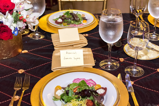 The place setting with the first course for the distinguished guest, Admiral James Lyons at the 2015 Keeper of the Flame Awards dinner put on by The Center for Security Policy at the National Postal Museum in Washington, DC