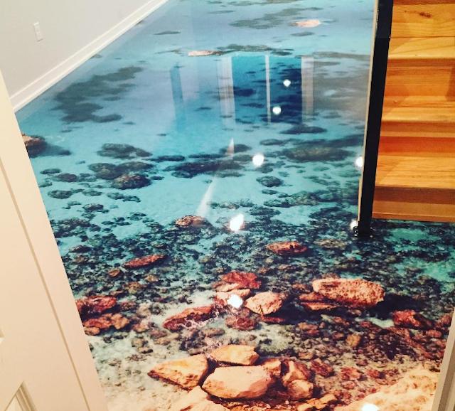 3d epoxy floor, 3d beach flooring, 3d flooring mural
