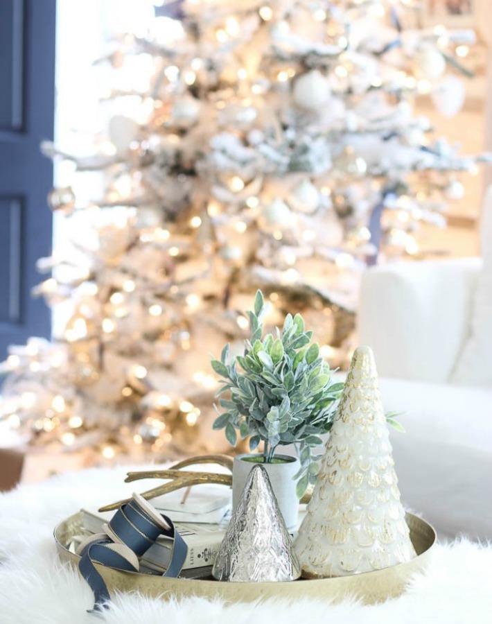 casa rustic-chic decorada para la navidad