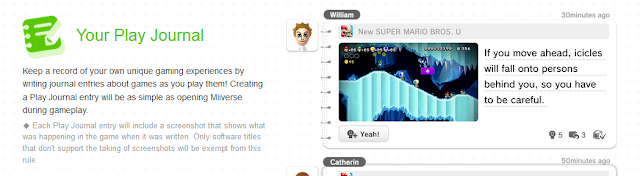 Your Play Journal Miiverse Redesign diary screenshots