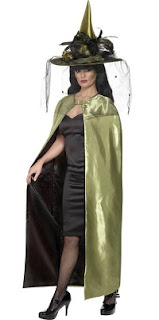 Chartreuse and black reversible cape