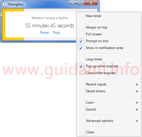 Opzioni Hourglass Timer per PC Windows