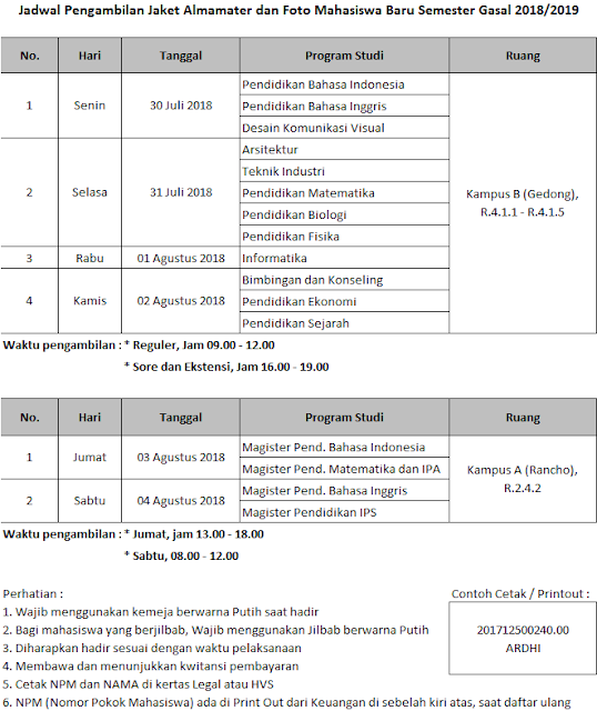 Jadwal Pengambilan Almamater unindra 2018/2019