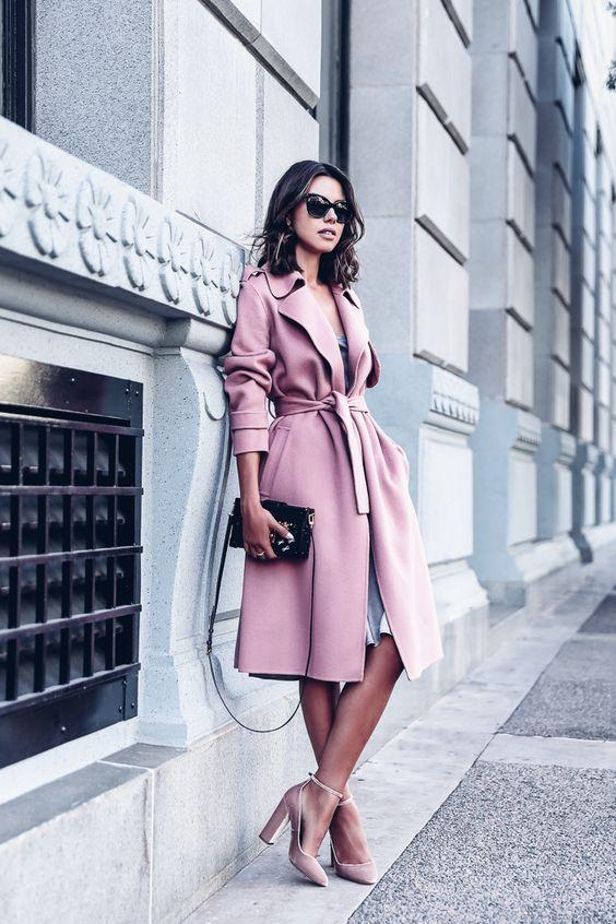 Viva Luxury Pink Trench Coat Velvet Pink Ankle Strap Heels